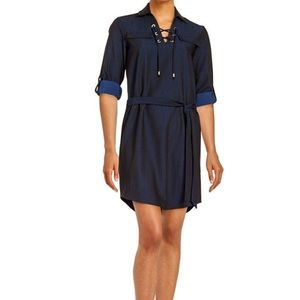 Black Casual Work Shirt Dress Lace-Up